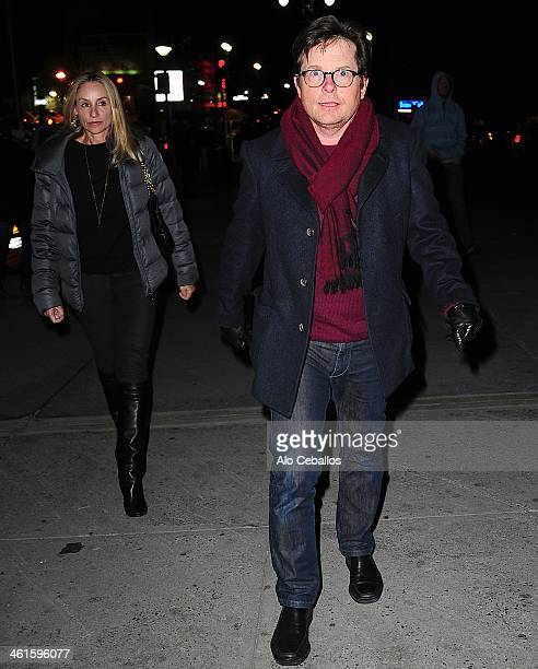 Tracy Pollan and Michael J Fox seen arriving at Madison Square Garden on January 9 2014 in New York City
