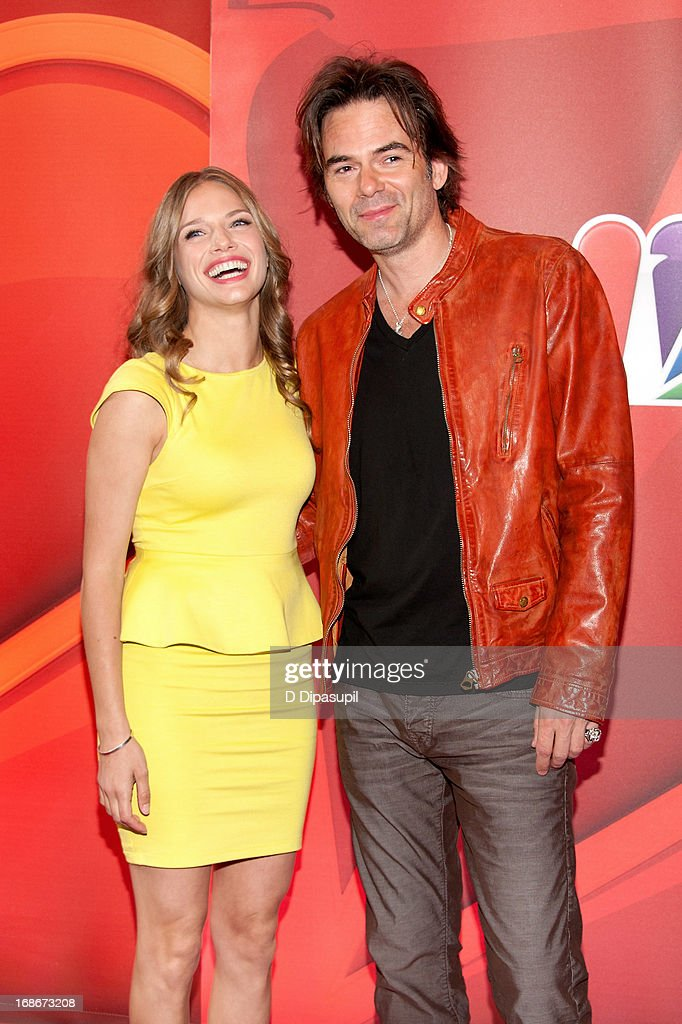 Tracy Spiridakos (L) and Billy Burke attend the 2013 NBC Upfront Presentation Red Carpet Event at Radio City Music Hall on May 13, 2013 in New York City.