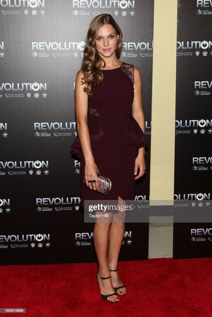 <a gi-track='captionPersonalityLinkClicked' href=/galleries/search?phrase=Tracy+Spiridakos&family=editorial&specificpeople=8954855 ng-click='$event.stopPropagation()'>Tracy Spiridakos</a> attends 'Revolution: The Power Of Entertainment' at United Nations Headquarters on September 17, 2013 in New York City.