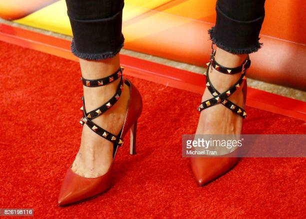 Tracy Spiridakos shoe detail arrives to the 2017 Summer TCA Tour NBC Press Tour held at The Beverly Hilton Hotel on August 3 2017 in Beverly Hills...