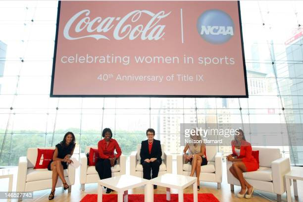 Tracy Wolfson Jackie JoynerKersee Billie Jean King Summer Sanders and Cheyenne Woods join CocaCola and NCAA to honor the 40th Anniversary of Title IX...