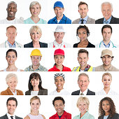 Head and shoulder portrait of diverse multiracial working and trade people smiling. Different headshot portraits human faces on white background showing variation and diversity. Matrix collage