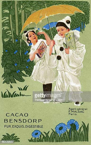 Trade card advertises Dutch cocoa manufacturer Bensdorp and features and illustration of two children both dressed as clowns in the manner of...