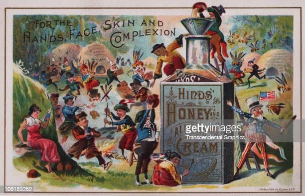 Trade card advertises Hind's Honey Almond Cream 1880