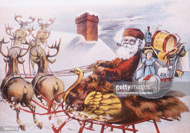 Trade card depicts a Santa Claus figure in a birdthemed sleigh pulled by reindeer as they are about the land on a rooftop to deliver presents from...
