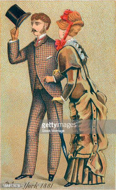 A trade card depicts a welldressed man as he tips his top hat a woman in a bonnet on his arm New York New York 1881 The card advertises Jessup...