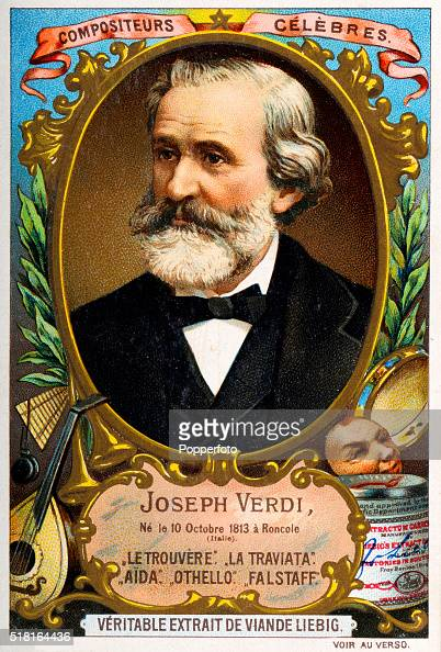 A trade card for Liebig's meat extract or beef stock featuring the Italian operatic composer Giuseppe Verdi published in Antwerp circa 1893
