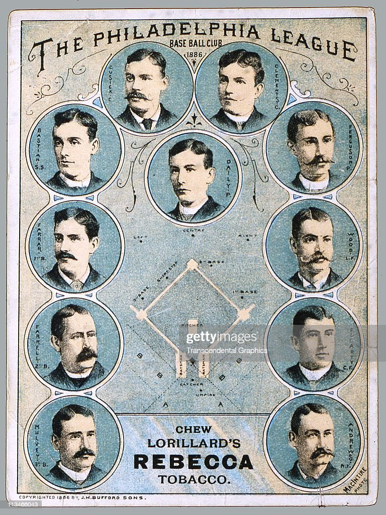 Trade card issued to advertise Rebecca Tobacco, a product of Lorillard Tobacco Company of Durham, North Carolina, featuring the Philadelphia Base Ball Club, printed circa 1886 in New York City.