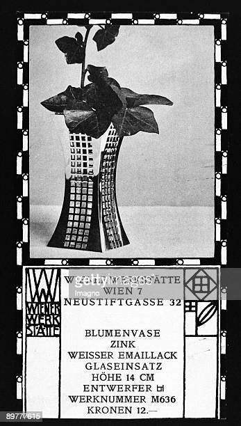 Trade description of goods of the Wiener Werkstaette 'Vase of flowers / zinc / white enamel / glass application / height 14 cm / Designer JH / works...