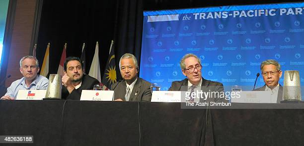 Trade ministers of Trans Pacific Pratnership negotiating countries attend a press conference after the Trans Pacific Pratnership negtiation on July...