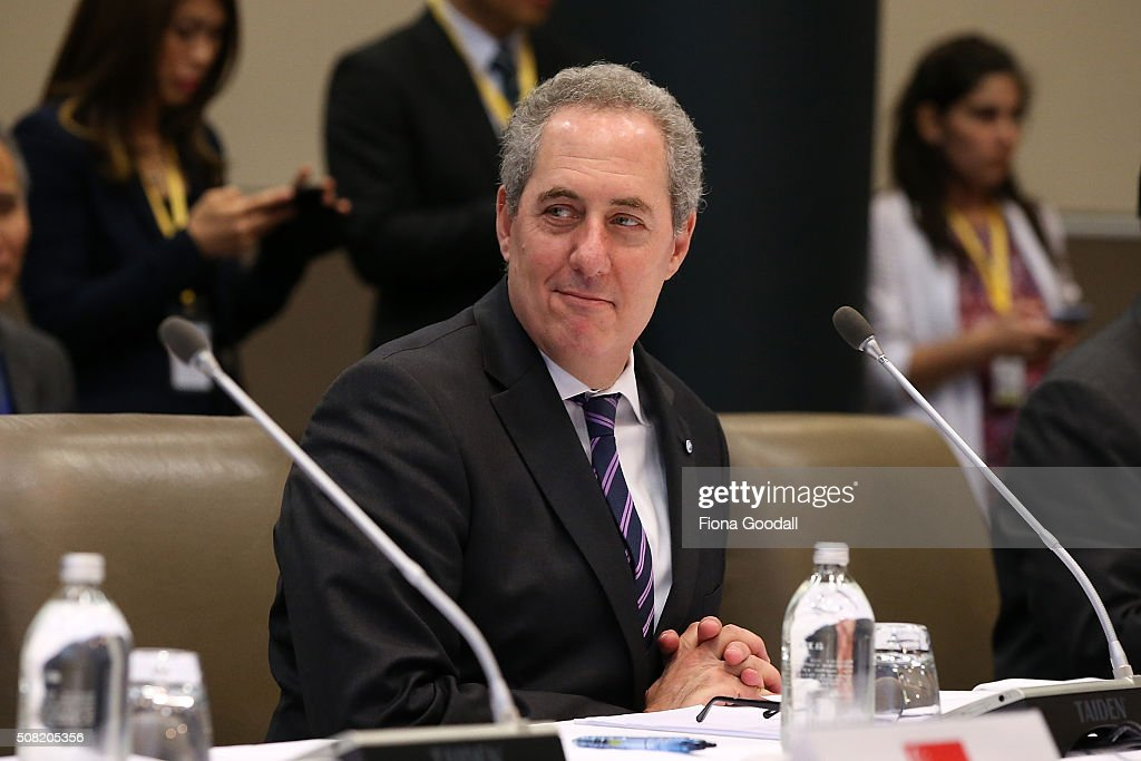 US trade representative <a gi-track='captionPersonalityLinkClicked' href=/galleries/search?phrase=Michael+Froman&family=editorial&specificpeople=5935975 ng-click='$event.stopPropagation()'>Michael Froman</a> is welcomed at Sky City on February 4, 2016 in Auckland, New Zealand. The signing ceremony marks the end of the TPP negotiation process to create one of the world's biggest free-trade zones.