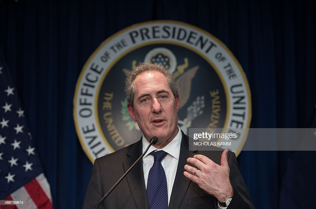 US Trade Representative <a gi-track='captionPersonalityLinkClicked' href=/galleries/search?phrase=Michael+Froman&family=editorial&specificpeople=5935975 ng-click='$event.stopPropagation()'>Michael Froman</a> speaks at a press conference to announce that the US has requested the World Trade Organization (WTO) to establish a dispute settlement panel to examine Indonesias import restrictions on fruits, vegetables, beef, poultry and other agricultural products in Washington, DC on March 18, 2015.