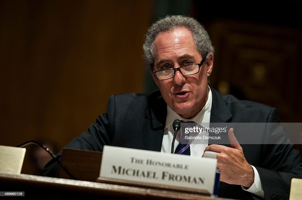 U.S. Trade Representative <a gi-track='captionPersonalityLinkClicked' href=/galleries/search?phrase=Michael+Froman&family=editorial&specificpeople=5935975 ng-click='$event.stopPropagation()'>Michael Froman</a> testifies at the Senate Finance Committee hearing on Congress and U.S. Tariff Policy in the Senate Dirksen Office building on April 16, 2015 in Washington, D.C. Congressional leaders in the tax writing committees reached a deal that would allow President Obama 'fast track' authority on negotiations on the Trans-Pacific Trade Agreement.