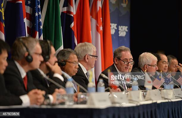 US Trade Representative Mike Froman speaks at a press conference for the TransPacific Partnership a panPacific trade agreement by trade ministers...