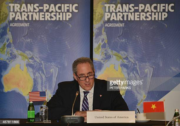 US Trade Representative Mike Froman speaks at the start of the TransPacific Partnership a panPacific trade agreement is being forged by trade...