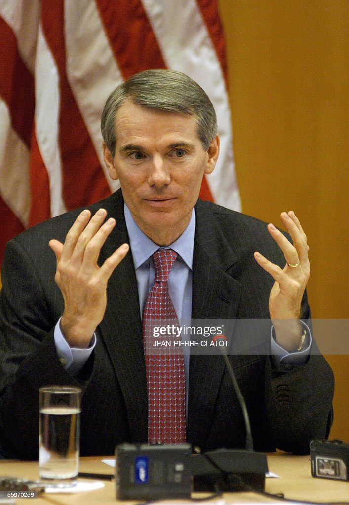 Trade Representative <a gi-track='captionPersonalityLinkClicked' href=/galleries/search?phrase=Rob+Portman&family=editorial&specificpeople=226973 ng-click='$event.stopPropagation()'>Rob Portman</a> answers media questions at a press conference, 20 October 2005 in Geneva, about negotiations of the world trade organisation (WTO) which are currently taking place here. Portman urged the European Union to do more to break the deadlock in World Trade Organisation talks on tearing down barriers to global commerce. Washington has offered to cut subsidies and is pushing the EU to go further on import duties. 'Agriculture is the key to breaking the deadlock, and moving the entire negotiation forward,' said Portman.