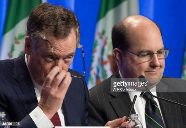 US Trade Representative Robert E Lighthizer and US General Couinsel Stephen Vaughn are seen during opening remarks while attending the Negotiations...