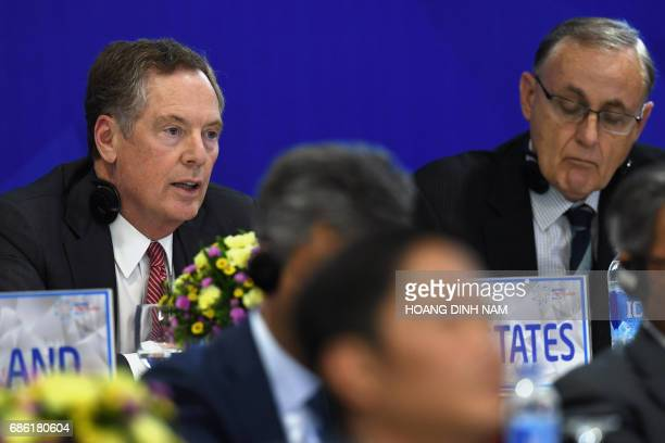 US Trade Representative Robert Lighthizer answers questions during a joint press conference held on the sidelines of the AsiaPacific Economic...