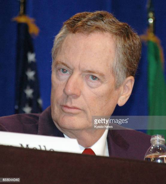 US Trade Representative Robert Lighthizer attends a press conference in Washington on Aug 16 at the start of renegotiations of the North American...