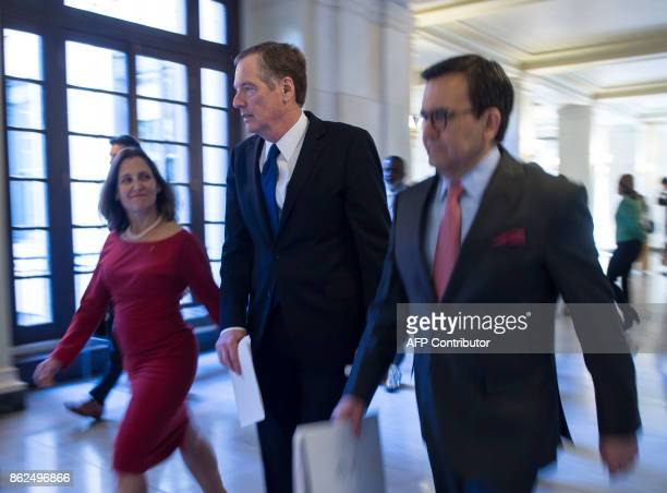 US Trade Representative Robert Lighthizer Canada Minister of Foreign Affairs Chrystia Freeland and Mexico Secretary of Economy Ildefonso Guajardo...