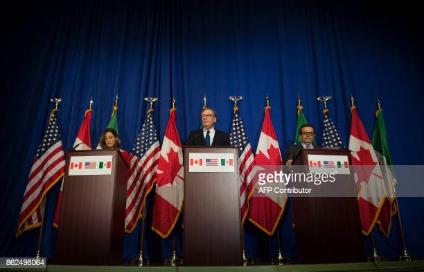 US Trade Representative Robert Lighthizer Canadian Foreign Minister Chrystia Freeland and Mexican Secretary of Economy Ildefonso Guajardo Villarreal...