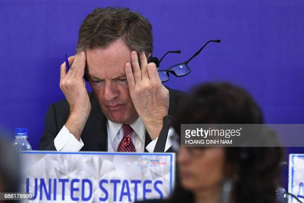 US Trade Representative Robert Lighthizer gestures while attending a joint press conference held on the sidelines of the AsiaPacific Economic...