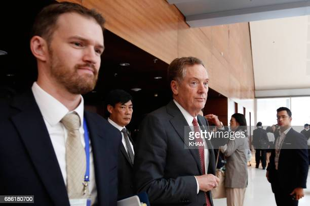 US Trade Representative Robert Lighthizer leaves a press conference during the AsiaPacific Economic Cooperation Ministers Responsible For Trade...