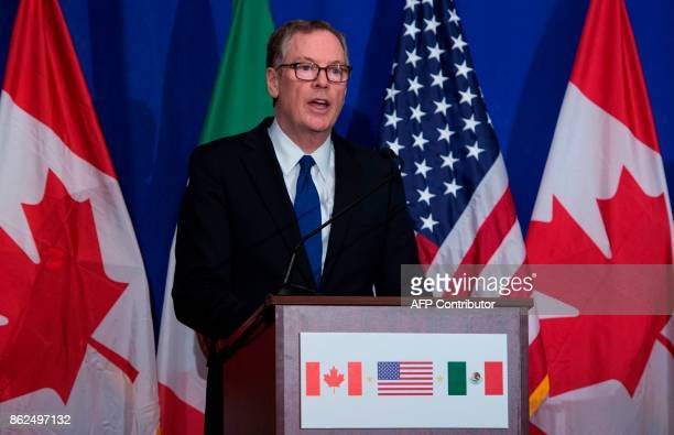 US Trade Representative Robert Lighthizer speaks during a press conference at the conclusion of the fourth round of negotiations for a new North...