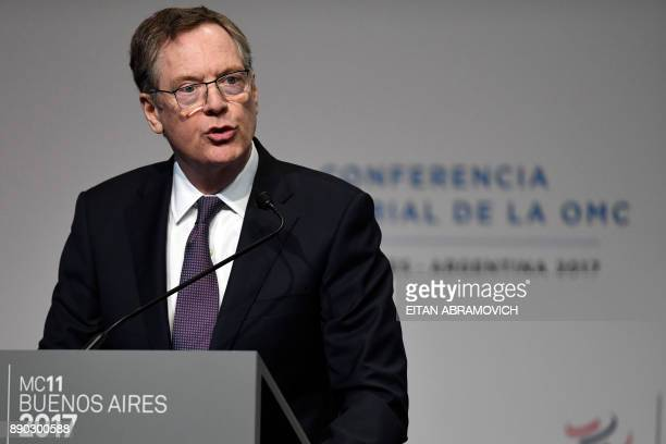 US Trade Representative Robert Lighthizer speaks during the 11th Ministerial Conference of the World Trade Organization plenary session in Buenos...