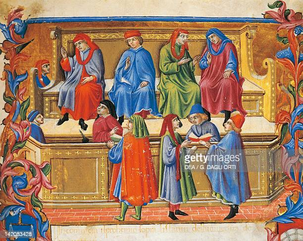 Trade Tribunal miniature from Statutes of the Merchants by Sano di Pietro Italy 15th Century