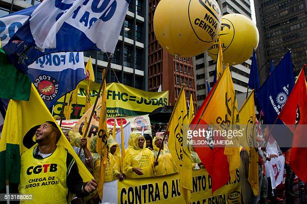Trade union members demonstrate in front of the headquarters of Brazil's Central Bank at the financial centre on Paulista Avenue in Sao Paulo Brazil...