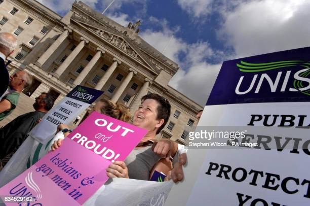 Trade union members from The Irish Congress of Trade Unions gather at Stormont Parliament Buildings as part of a UKwide demonstration against public...