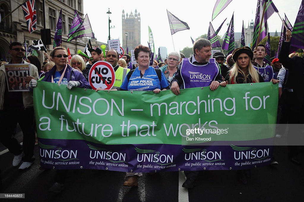 UNISON trade union members participate in a TUC march in protest against the government's austerity measures on October 20, 2012 in London, England. Thousands of people are taking part in the Trades Union Congress (TUC) organised anti-cuts march that ends with a rally in Hyde Park, where Labour leader Ed Miliband is scheduled to address the demonstrators.
