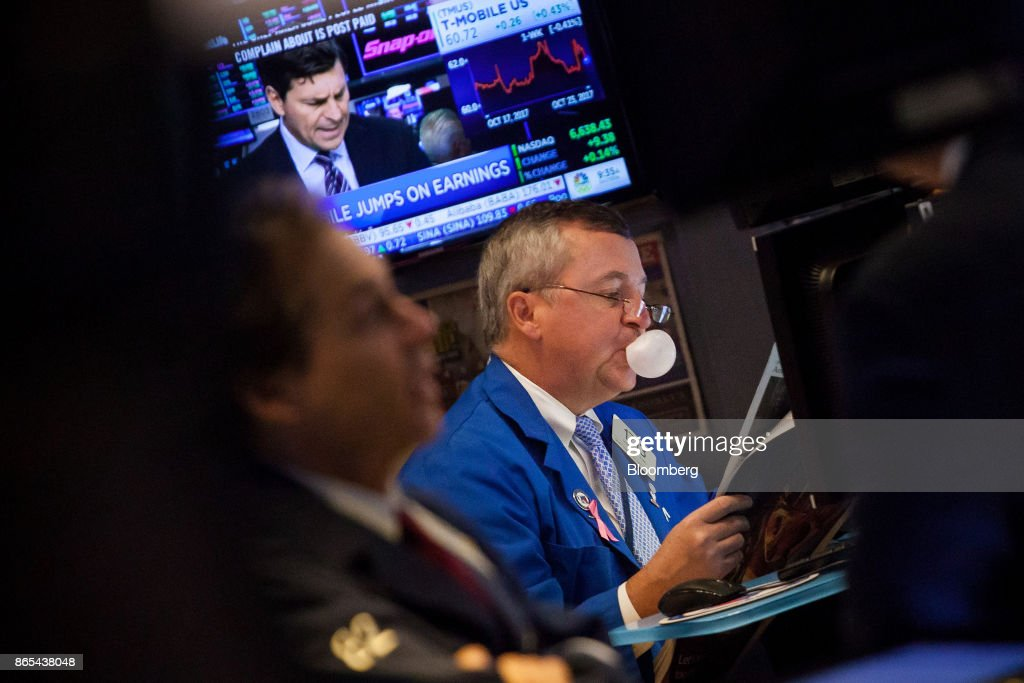 Trading On The Floor Of The NYSE As U.S. Stocks Mixed At Start Of Big Earnings Week