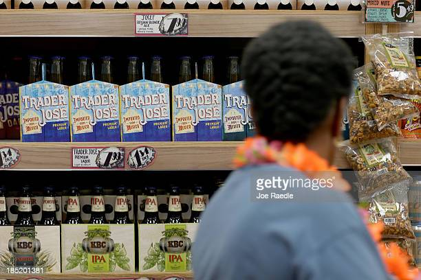 Trader Joe's beer is seen on the shelf during the grand opening of a Trader Joe's on October 18 2013 in Pinecrest Florida Trader Joe's opened its...