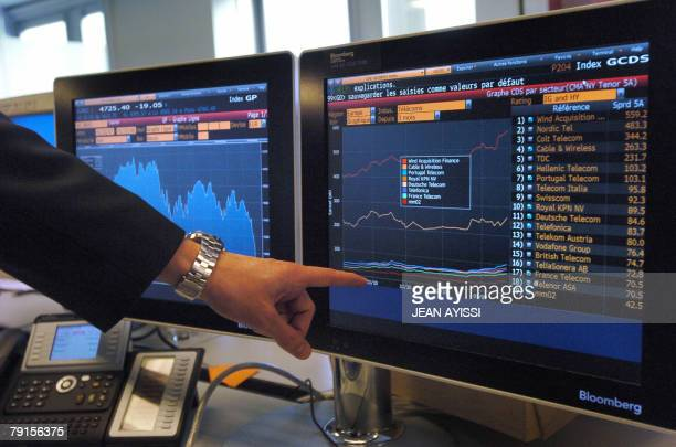 A trader shows a the GCDS index curve at the independant private banking company Meeschaert Gestion Privee 22 January 2008 in Paris The French stock...