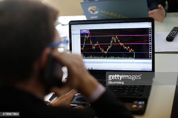 A trader speaks on a phone as he monitors financial data as trading on the Greek stock exchange halts in the offices of the Nuntius Securities SA...