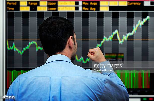 Trader watching stocks go up