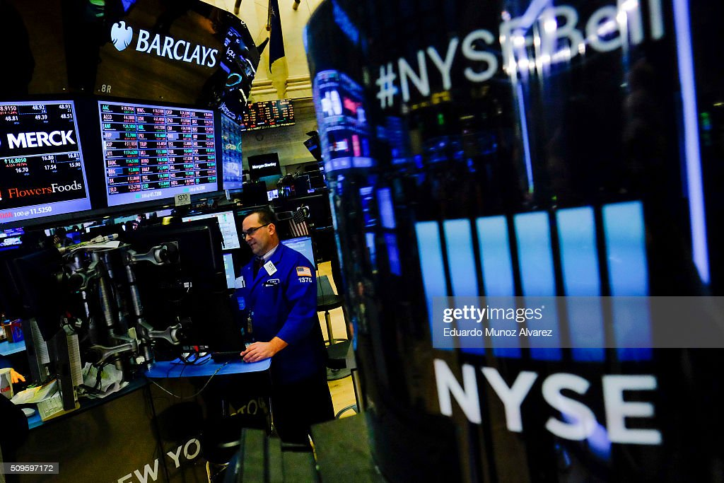 A trader work on the floor of the New York Stock Exchange (NYSE) on February 11, 2016 in New York City. Stocks were down for the fifth day in a row, buffeted in part by falling oil prices.