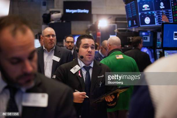 A trader works on the floor of the New York Stock Exchange in New York US on Monday Oct 16 2017 The dollar strengthened and Treasuries fell after...