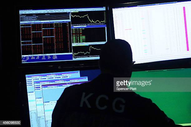 A trader works on the floor of the New York Stock Exchange on September 25 2014 in New York City Trouble in tech stocks resulted in a market selloff...