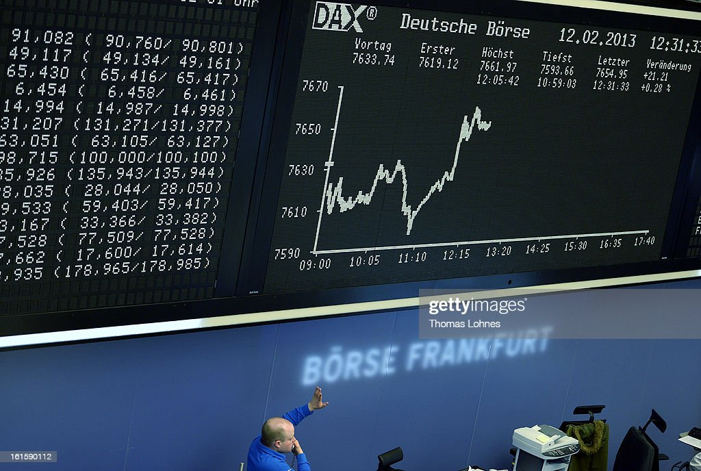 A trader works on the trading floor of the Frankfurt Stock Exchange on February 12, 2013 in Frankfurt am Main, Germany. European stock markets rose and the euro moved up against the dollar before the meeting of the eurozone finance ministers in Brussels.