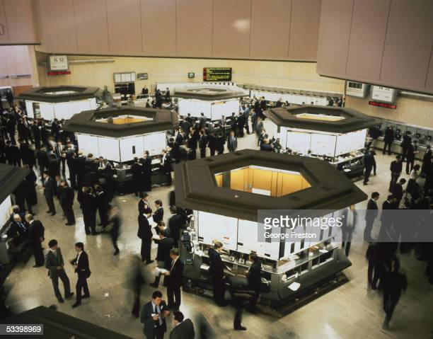 Traders at work at the London stock exchange circa 1980
