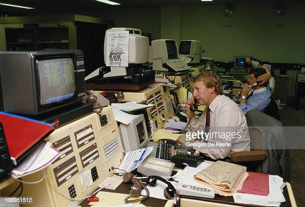 Traders at work in the City of London December 1986