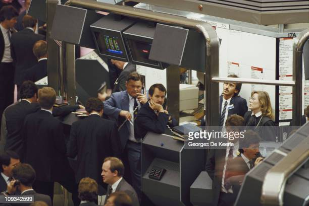 Traders at work in the City of London October 1986