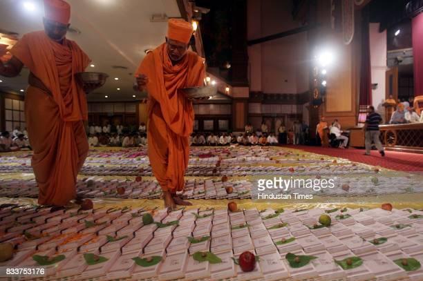 Traders conduct Chopdi Puja at Swaminarayan Temple at Dadar on Diwali Day