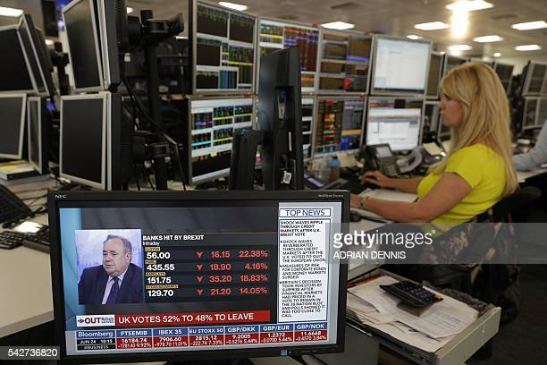 Traders from ETX Capital work in central london on June 24 2016 following the announcement of the EU referendum London stocks plunged in early deals...