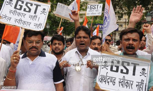 Traders protest against GST on June 30 2017 in Lucknow India The traders said they were not against the GST rollout per se but were opposed to seven...