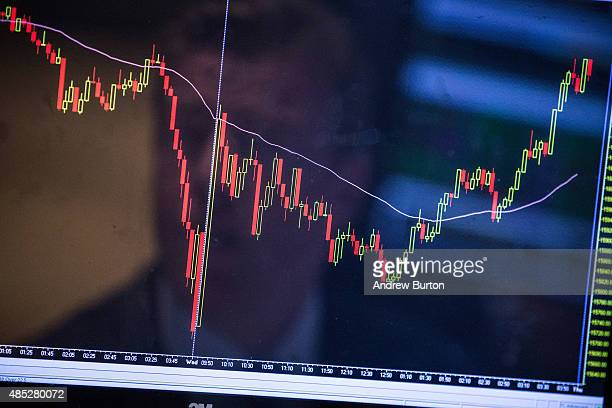 A trader's reflection is seen in a screen on the floor of the New York Stock Exchange during the afternoon of August 26 2015 in New York City The Dow...