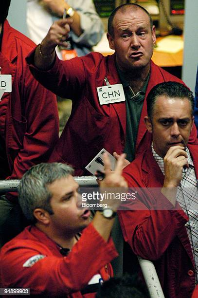 Traders seen in the pit at the International Petroleum Exchange in London Friday August 6 2004 Crude oil futures retreated from a record after BP Plc...